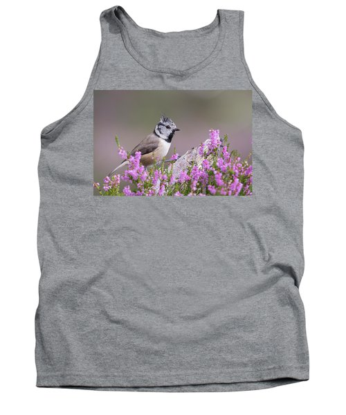 Crested Tit In Heather Tank Top