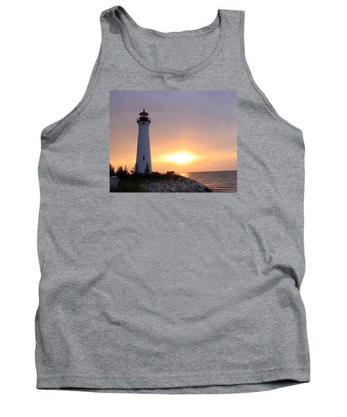 Crisp Point Lighthouse At Sunset Tank Top by George Jones