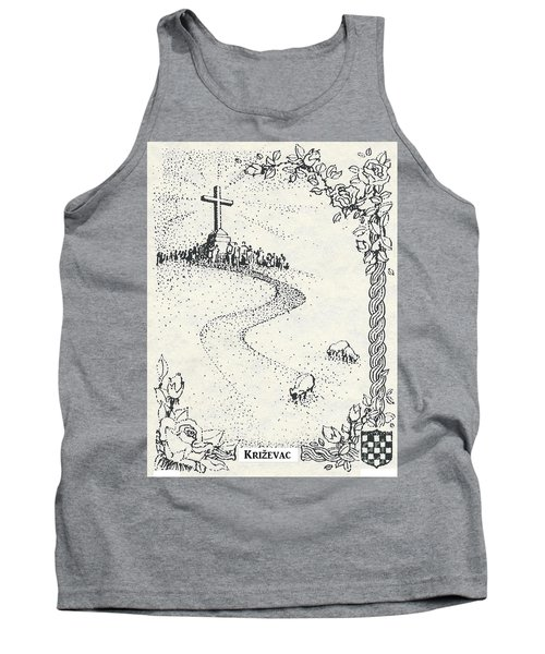 Tank Top featuring the drawing Cross Mt, Medjugorje  by Christina Verdgeline