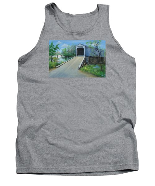 Crossing At The Covered Bridge Tank Top by Oz Freedgood
