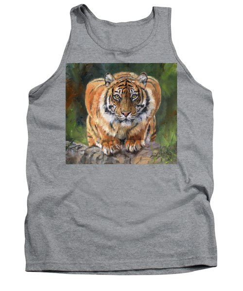 Tank Top featuring the painting Crouching Tiger by David Stribbling