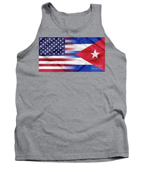 Cuba And Usa Flags Tank Top