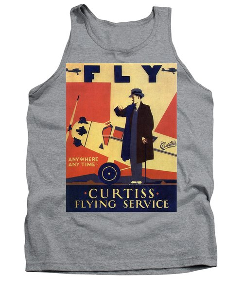 Curtiss Flying Service - Art Deco Poster - Vintage Advertising Poster  Tank Top
