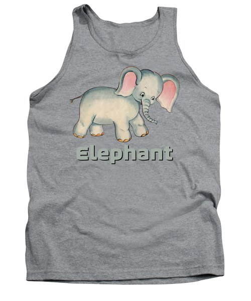Cute Baby Elephant Pattern Vintage Illustration For Children Tank Top