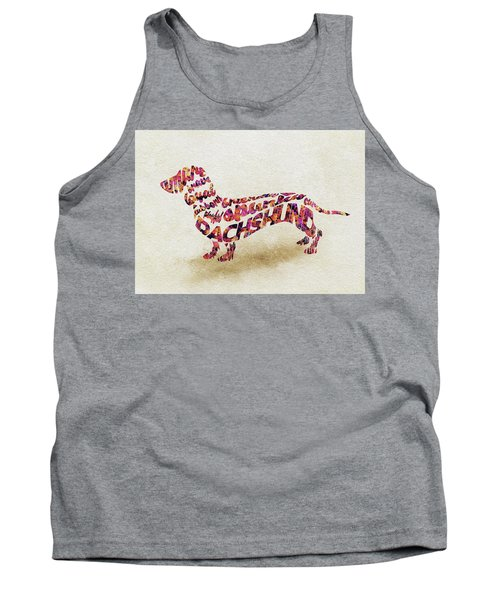 Dachshund / Sausage Dog Watercolor Painting / Typographic Art Tank Top