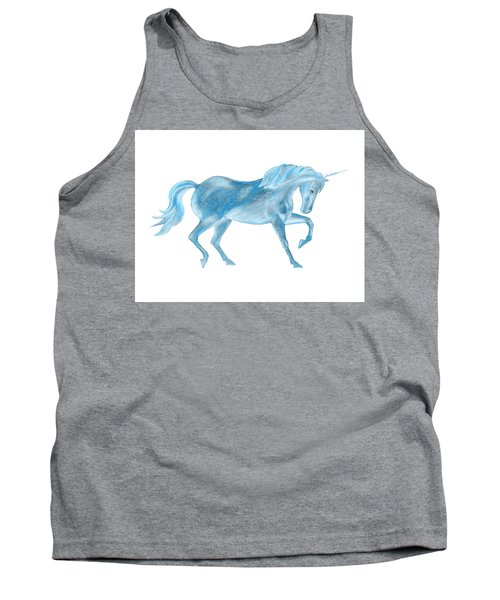 Tank Top featuring the mixed media Dancing Blue Unicorn by Elizabeth Lock