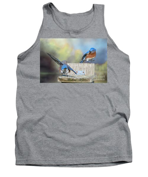 Tank Top featuring the photograph Dancing Bluebirds by Bonnie Barry