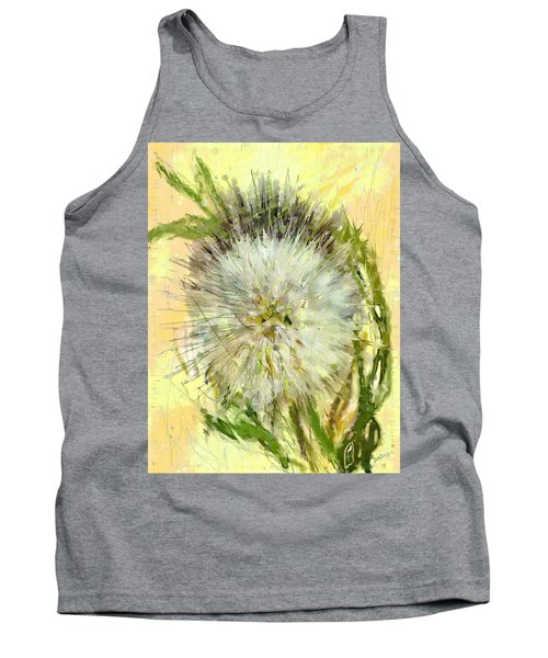 Tank Top featuring the drawing Dandelion Sunshower by Desline Vitto