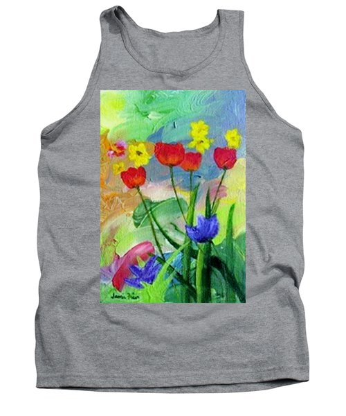Tank Top featuring the painting Daria's Flowers by Jamie Frier