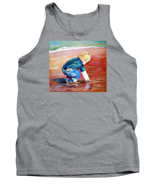 Tank Top featuring the painting Day At The Beach by Patricia Piffath
