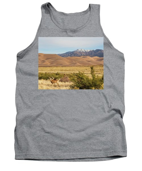 Tank Top featuring the photograph Deer And The Colorado Sand Dunes by James BO Insogna