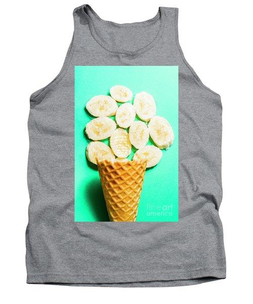 Dessert Concept Of Ice-cream Cone And Banana Slices Tank Top