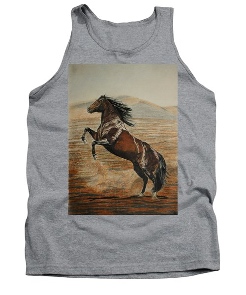 Tank Top featuring the drawing Desert Horse by Melita Safran
