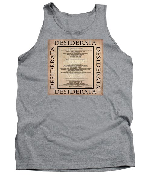 Desiderata - Spanish- Poema Escrito Por Max Ehrmann Tank Top by Claudia Ellis