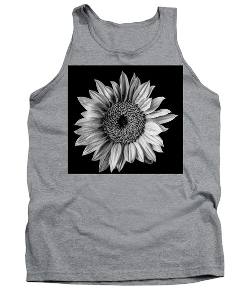 Dew Covered Sunflower In Black And White Tank Top