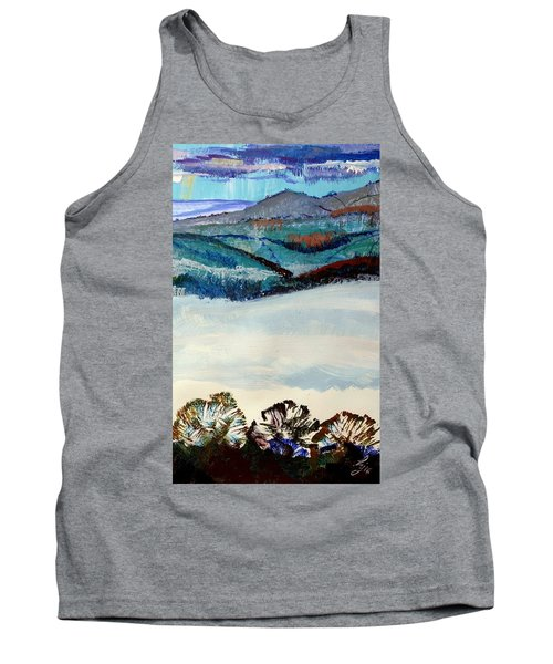 Distant Hills And Mist In The Lowlands Landscape Tank Top