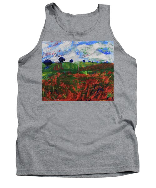 Tank Top featuring the painting Distant Vineyards by Walter Fahmy