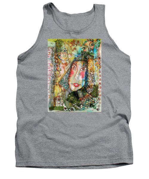 Tank Top featuring the mixed media Doe Eyed Girl And Her Spirit Guides by Mimulux patricia no No