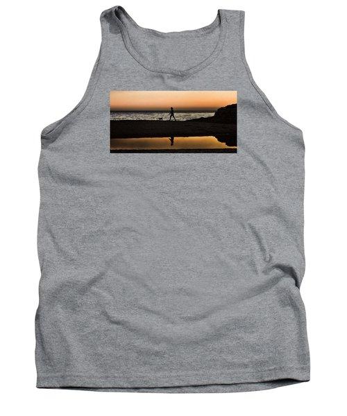 Dog Walker At Sunset Tank Top