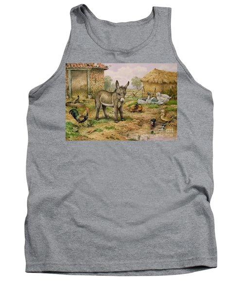 Donkey And Farmyard Fowl  Tank Top by Carl Donner
