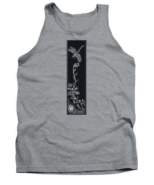 Tank Top featuring the drawing Dragonfly With Catspaw And Bug by Dawn Senior-Trask