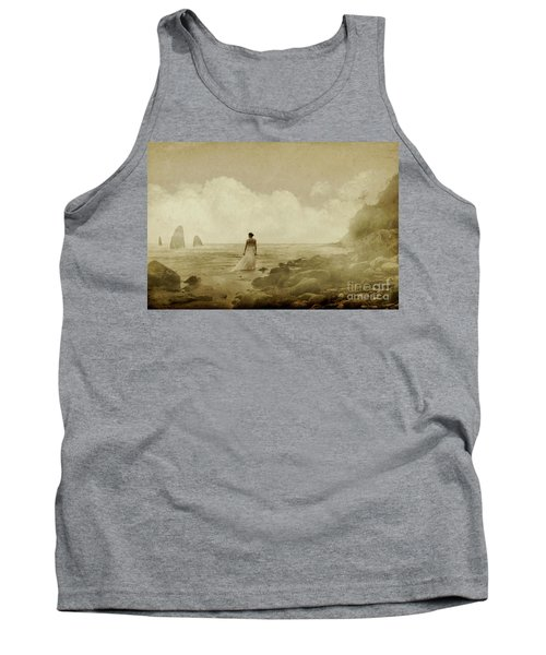 Dramatic Seascape And Woman Tank Top