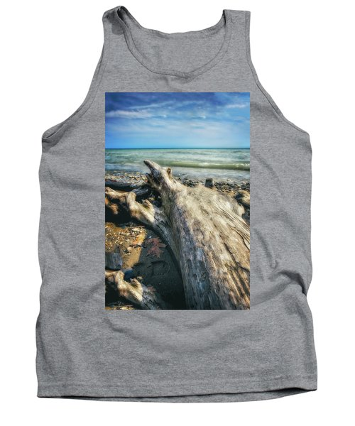 Driftwood On Beach - Grant Park - Lake Michigan Shoreline Tank Top by Jennifer Rondinelli Reilly - Fine Art Photography