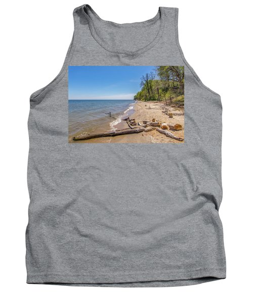 Tank Top featuring the photograph Driftwood On The Beach by Charles Kraus