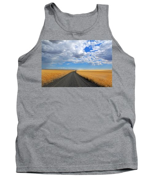 Driving Through The Wheat Fields Tank Top by Lynn Hopwood