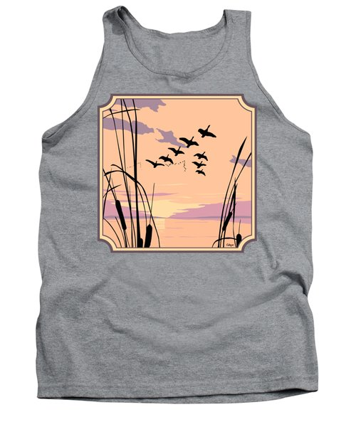 Ducks Flying Over The Lake Abstract Sunset - Square Format Tank Top