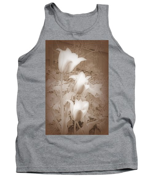 Early Blooming Tulips In Sepia Tank Top