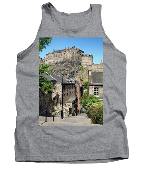 Tank Top featuring the photograph Edinburgh Castle From The Vennel by Jeremy Lavender Photography