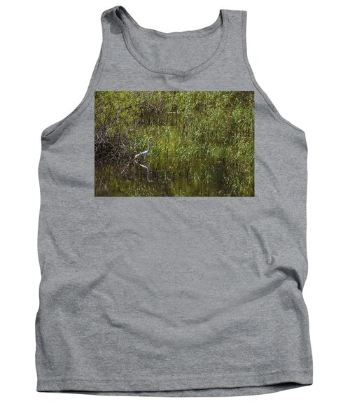 Egret Hunting In Reeds Tank Top