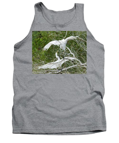 Tank Top featuring the photograph Egret Rumble by George Randy Bass