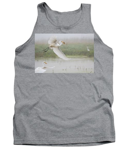 Tank Top featuring the photograph Egrets Fish by Kelly Marquardt