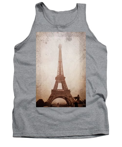Tank Top featuring the digital art Eiffel Tower In The Mist by Christina Lihani