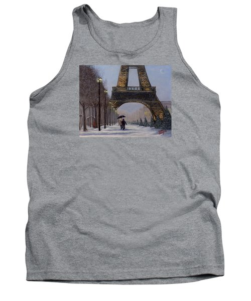 Eiffel Tower In The Snow Tank Top by Dan Wagner