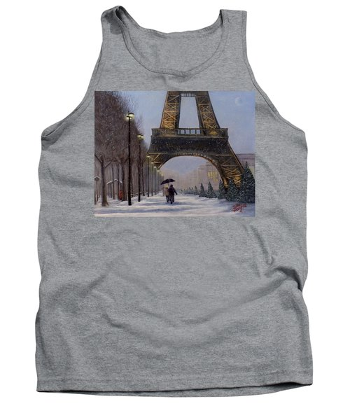 Eiffel Tower In The Snow Tank Top