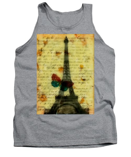 Tank Top featuring the painting Eiffel Tower Memory Encaustic by Bellesouth Studio