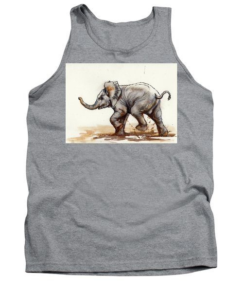 Elephant Baby At Play Tank Top by Margaret Stockdale
