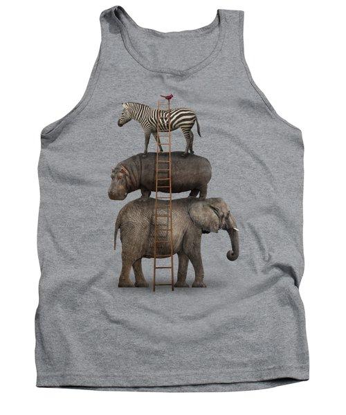 Elephant, Hippo, Zebra Animal Stack With A Cardinal Tank Top by Greg Noblin