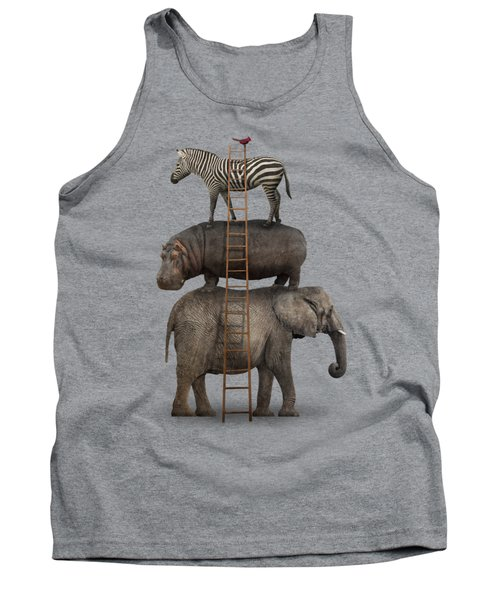 Elephant, Hippo, Zebra Animal Stack With A Cardinal Tank Top