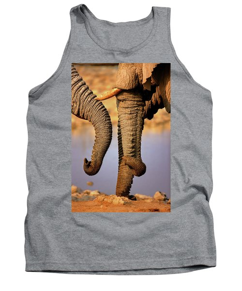 Elephant Trunks Interacting Close-up Tank Top