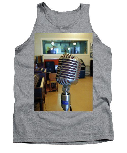Tank Top featuring the photograph Elvis Presley Microphone by Mark Czerniec