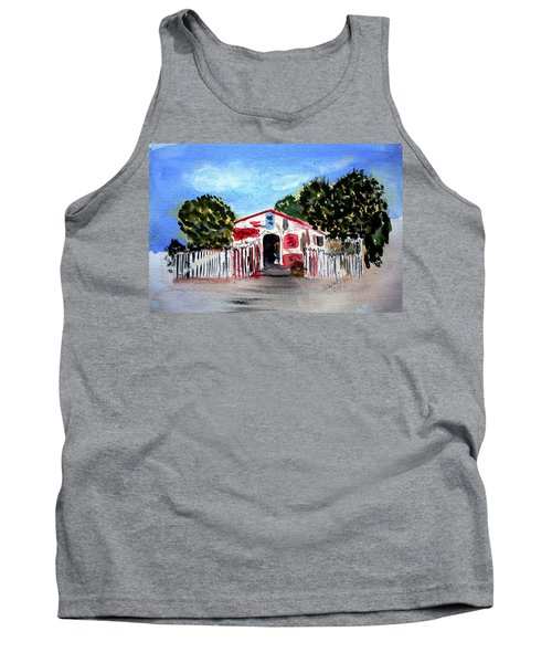 Tank Top featuring the painting Emiles Road Side Grocer by Donna Walsh