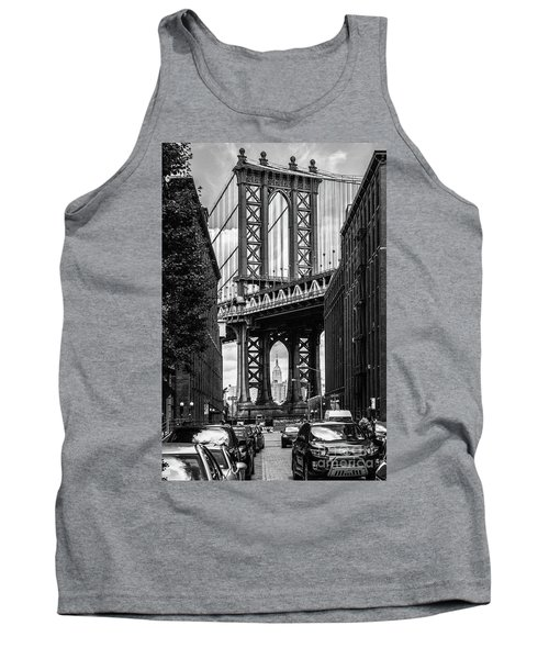 Empire State Building Framed By Manhattan Bridge Tank Top