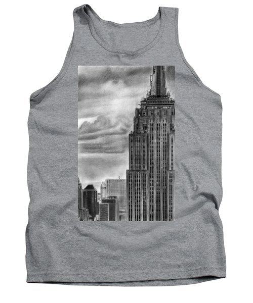 Empire State Building New York Pencil Drawing Tank Top