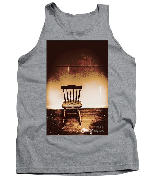 Empty Wooden Chair With Cross Sign Tank Top
