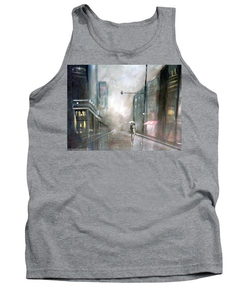 Evening Walk In The Rain Tank Top by Raymond Doward