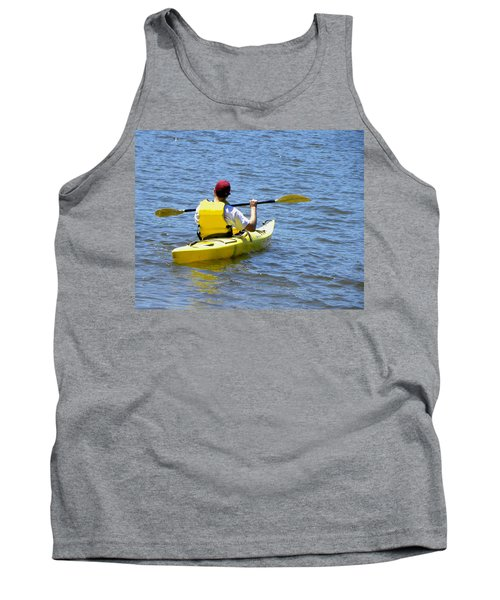 Tank Top featuring the photograph Exploring In A Kayak by Sandi OReilly